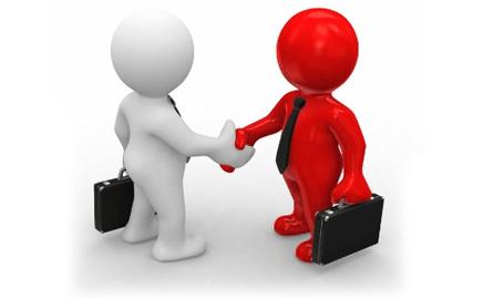 Bizopia - RedWhite Men shaking hands