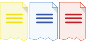 identical yellow, blue, and red document icons - duplicate content for Houston SEO