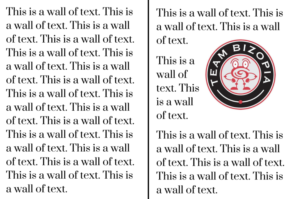 Wall of text illustration with and without optimized picture in content from digital marketing agency.